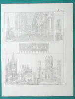 ARCHITECTURE Europe Cathedrals Mainz Burgos Doge's Palace - 1828 Antique Print