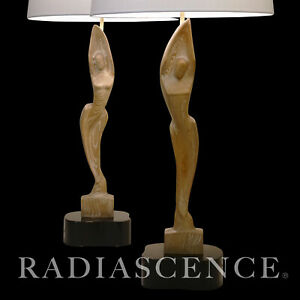 PAIR YASHA HEIFETZ ATOMIC MODERN CARVED OAK NUDE FIGURE SCULPTURE TABLE LAMPS