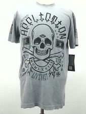 New Affliction Seek and Destroy Mens Distressed T-Shirt Gray Large