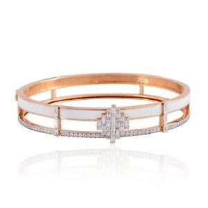 Natural 1.95 TCW SI/Hi Diamond Enamel Bangle Bracelet 18k Rose Gold Fine Jewelry