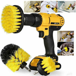 3PC Cleaning Drill Brush Cleaner Tool Electric Power Scrubber Kitchen Bath Car