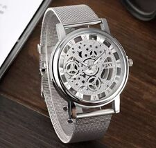 Men's silver Transparen Steampunk Skeleton Stainless Strap Mechanical Watch Free