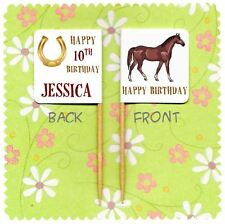 20 PERSONALISED HORSE RIDING CUPCAKE FLAG Equestrian Cowboy Pony Topper Birthday