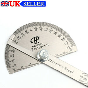 Stainless Steel Angle Ruler 180° Protractor Round Finder Arm Measuring Tools
