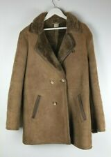Alexander's Nyc Vintage Genuine Leather Wool Lined Pea Coat Size 42 Rare