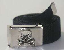 "NEW SKULL PIRATE BUCKLE ADJUSTABLE 44"" INCH CANVAS MILITARY WEB BLACK BELT MEN"