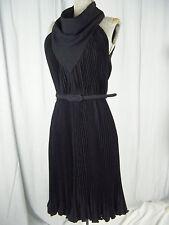 """Donald Brooks""Vtg 70s Couture Black Crepe Halter Pleated Dress-Bust 36/ S"