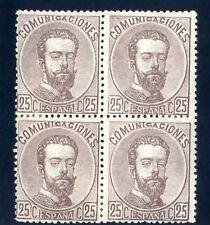 SELLOS DE ESPAÑA 1872 AMADEO I Nº 124 CASTAÑO 25 CENTIMOS BLOQUE DE CUATRO NUEVO