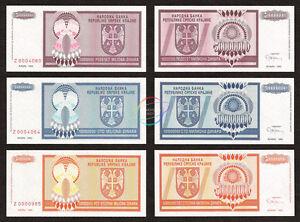 CROATIA 50-500 Million Set 3 PCS Prefix Z Replacement Note 1993 P-R14 15 16 UNC