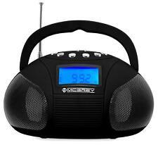 Mini Stereo Anlage Tragbarer USB SD AUX MP3 Player Radio Wecker Boombox schwarz