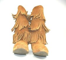 Minnetonka 8 Tall 3 Layer Fringe Brown Suede Moccasin Boots 1632 Festival Boho