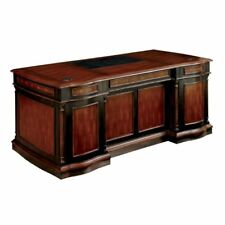 Bowery Hill Executive Desk In Cherry And Black