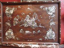 ancien panneau tableau bois nacre chine big antique chinese panel plateau XIXe