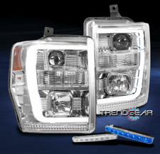 FOR 2008-2010 FORD SUPER DUTY LED TUBE CHROME PROJECTOR HEADLIGHT W/BLUE DRL KIT