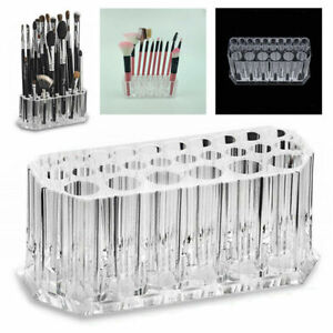 26 Holes Holder Makeup Brush Cosmetic Organizer Display Stand Case Acrylic New
