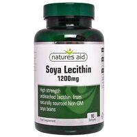 Soya Lecithin 1200mg 90 Softgels - Natures Aid FREE UK POST