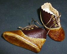 65mm brown ALL LEATHER SHOES  for ANTIQUE DOLL , DOLL CLOTHING
