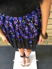 =STUNNING= PINKO BLACK Embellished Top Blue Sequin Party Pleated Dress Skirt US4