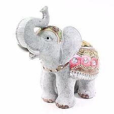 "Feng Shui 10"" Gray Elephant Trunk Statue Lucky Figurine Gift Home Decor"