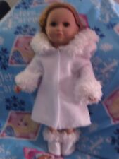 Handmade American Girl/18 inch/doll clothes/white fleece coat/fur trims/boots
