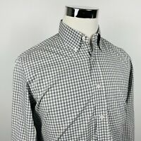 Canali 1934 Mens Medium Luxury Casual Shirt Gray White Checker Cotton Italy