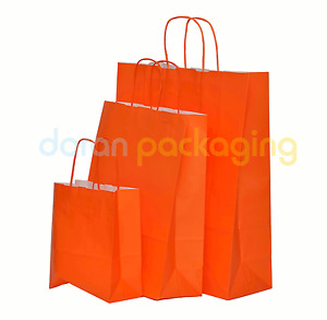 Orange Paper Bags Twist Handle Party and Gift Carrier / Paper Bags With Handles