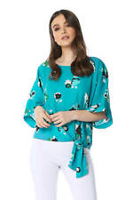 Roman Originals Floral 3/4 Sleeve Tie Front Top
