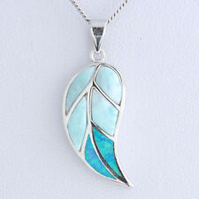 925 Sterling Silver Opal Natural Dominican Larimar Gemstones Pendant Necklace 18