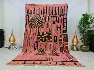 "Moroccan Boujaad Handmade Vintage Rug 5'7""x9'3"" Berber Abstract Pink Black Rug"