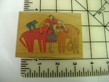 """Laurel Burch """"Kindred Spirits""""  945H Woman with jungle animals wm rubber stamp"""