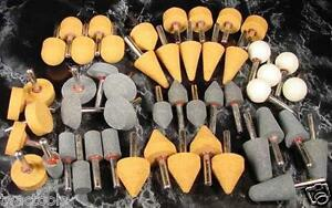 "50pc 1/4"" Shank MOUNTED STONES Assorted Grits and Shapes grinding grinder sand"