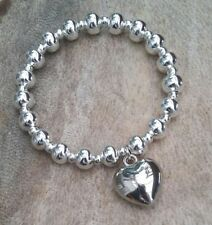 Silver Ball Beaded Chunky Heart Charm Stretch Bracelet Bangle