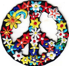 FLOWER PEACE SIGN - BIKER - WOODSTOCK - LOVE - PEACE - SUMMER - Iron On Patch