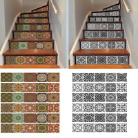 6Pcs Vinyl Stair Riser Decals Wall Stickers Tiles Mural Self Adhesive Home Decor