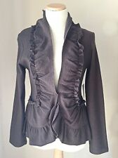 Luii Anthropologie Brown Boiled Wool Long-Sleeved Ruffled Jacket, Size L- NWT