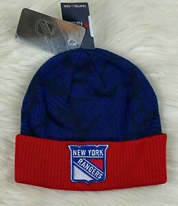 New York Rangers NHL Iconic Cuffed Knit Winter Beanie Hat Navy Blue Red NWT