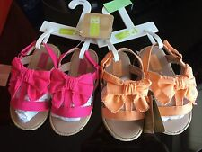 CRAZY 8. You choose.  Girls Fuchsia or Neon Peach Bow Flats Shoes Sz 6
