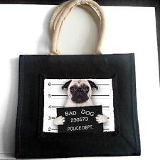 "FAWN PUG ""BAD DOG"" JUTE SHOPPING BAG PET LOVER BREED ANIMAL PHOTO GIFT"