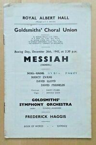 Messiah programme Goldsmith's Choral Union Orchestra Royal Albert Hall Dec 1945