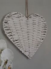White Woven Willow Hanging Heart Decoration 28 x 28 approx