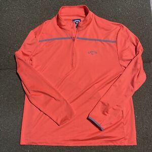 Callaway Golf Jacket Mens 2XL Long Sleeve Orange Weather Series 1/2 Half Zip