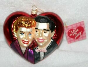 I LOVE LUCY'S GLASS HEART SHAPED CHRISTMAS ORNAMENT by POLONAISE-IN ORIGINAL BOX