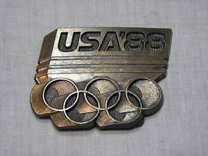 1988 Olympics Brass Metal Belt Buckle Team USA Mens Vintage Rings Seoul Korea 88