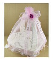 Corbeille Rose + 1 Ballon Panier à Dragées Cadeaux Naissance Baptême Fille