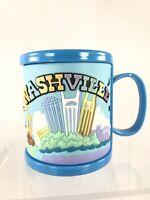 Kids Souvenir Coffee Style Mug Blue Nashville Rubber Outside Guitar Cowboy
