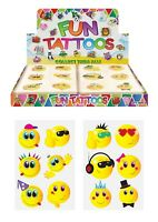 SMILEY FACE KIDS TEMPORARY TATTOOS Assorted Designs Party Bag Filler Loot Boys