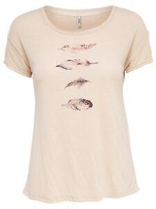 74/23 NEU ONLY Damen T-Shirt Oberteil onlFEATHER TOP kurzarm Federn Gr. M rosa