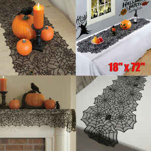 Halloween Spider Web Table Runner Lace Tablecloth Cover Party Decoration Black