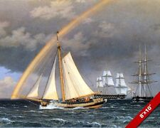 SCHOONER ESCAPING A FRIGATE SHIPS AT SEA SEASCAPE PAINTING ART CANVAS PRINT