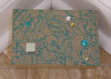 Handcrafted Artwork Trinket Box W/Decor. Bead/Stone/Paper Accents-N-Medium-Recta